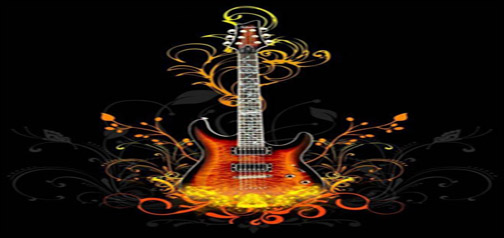 Abstract Guitar with Flames Google Homepage