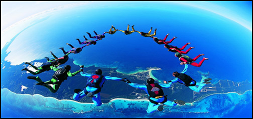 A Group of SkyDivers