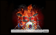 Flaming Skeleton on Drums Google Homepage