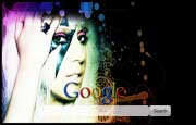 Lady Gaga with a Lightning Bolt Google Homepage